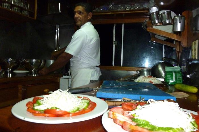 A variety of food prepared and served onboard La Reina