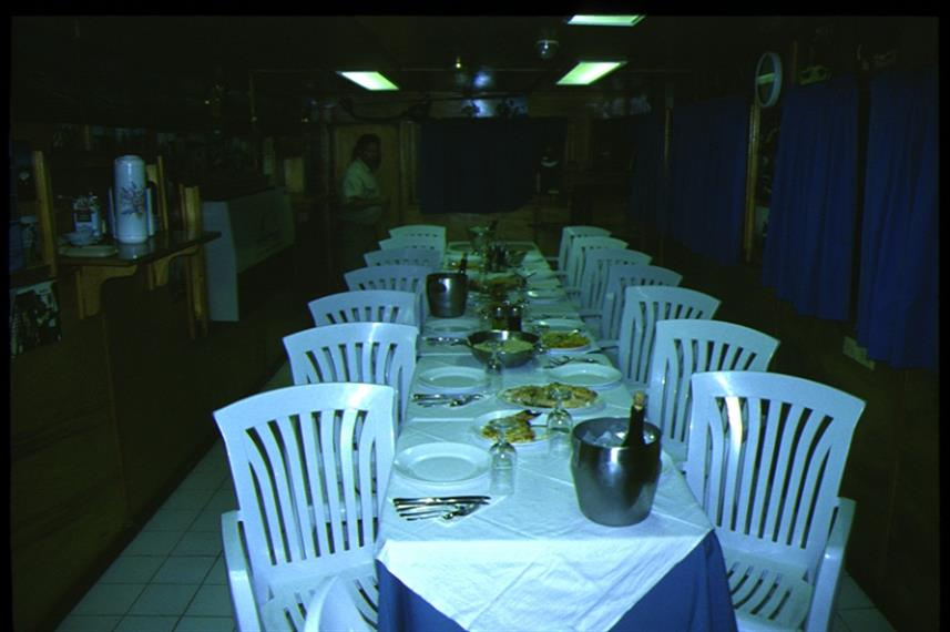Dining aboard the Tortuga Liveaboard Cuba