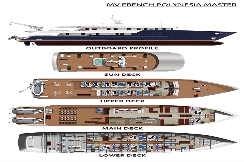 French Polynesia Master Deck Plan 플로어 플랜