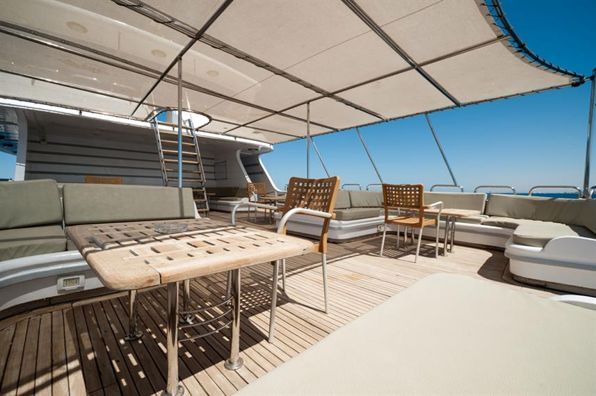 Shaded Sun Deck - Golden Dolphin II Egypt Liveaboard