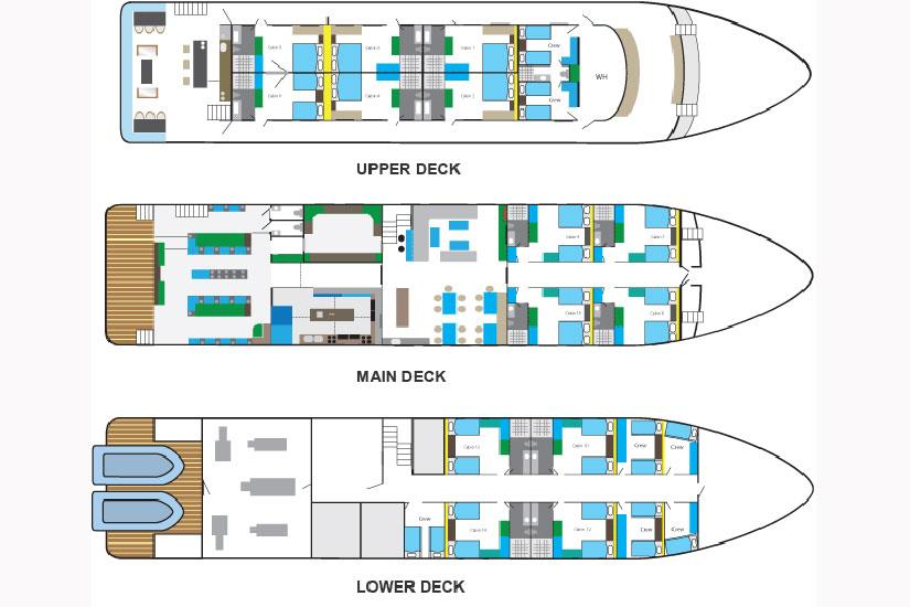 Blue Manta Liveaboard Deck Planフロアプラン
