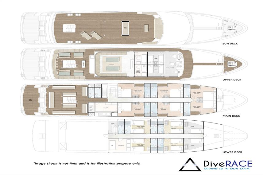 DiveRACE Class E Liveaboard Deck Plan floorplan