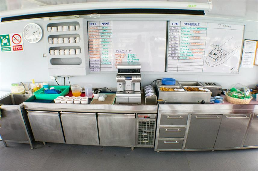 Snack bar aboard the MV DiveRACE Class E Liveaboard