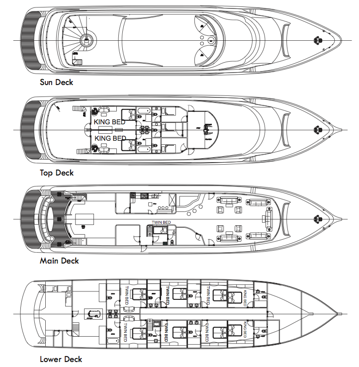 MV Maldives Princess Liveaboard Deck Plan plan