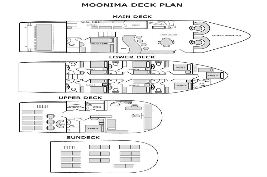 Moonima Liveaboard Deck Plan 플로어 플랜