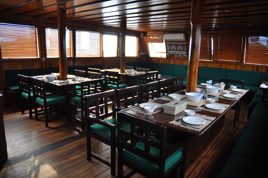 Dining area aboard the Tambora