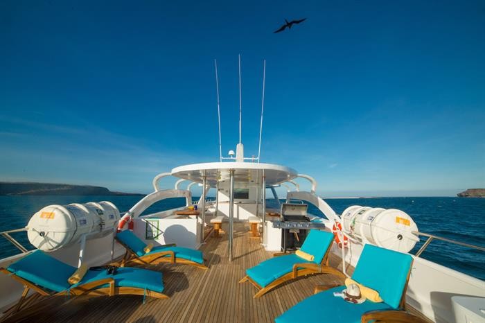 Sun deck with comfortable loungers - Majestic Galapagos Yacht