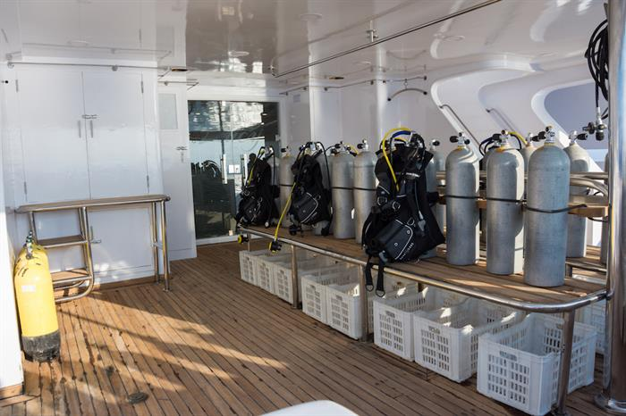 Dive deck with gear storage