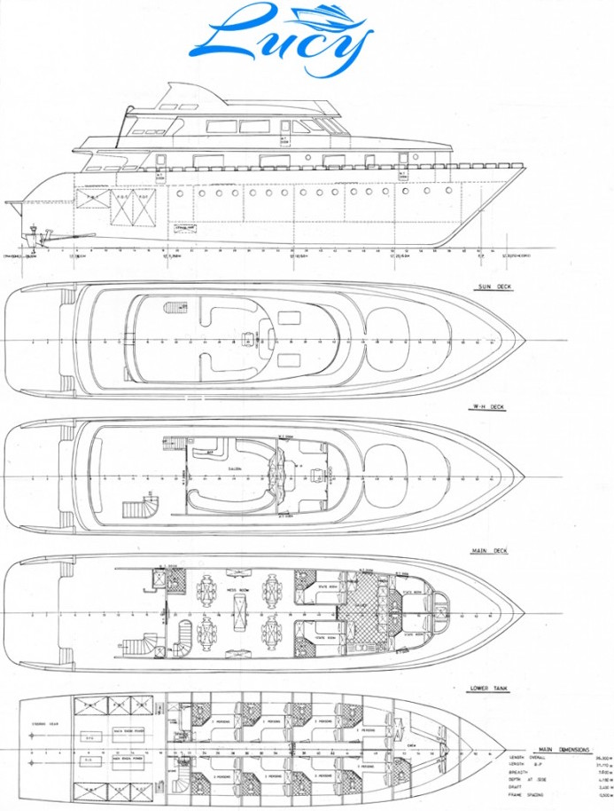 M/Y Lucy Deck Plan floorplan