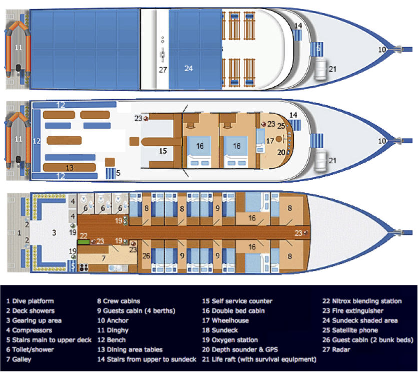 Dolphin Queen Deck Plan floorplan