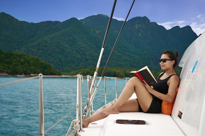 Take in the views and relax on board Meltemi, Myanmar