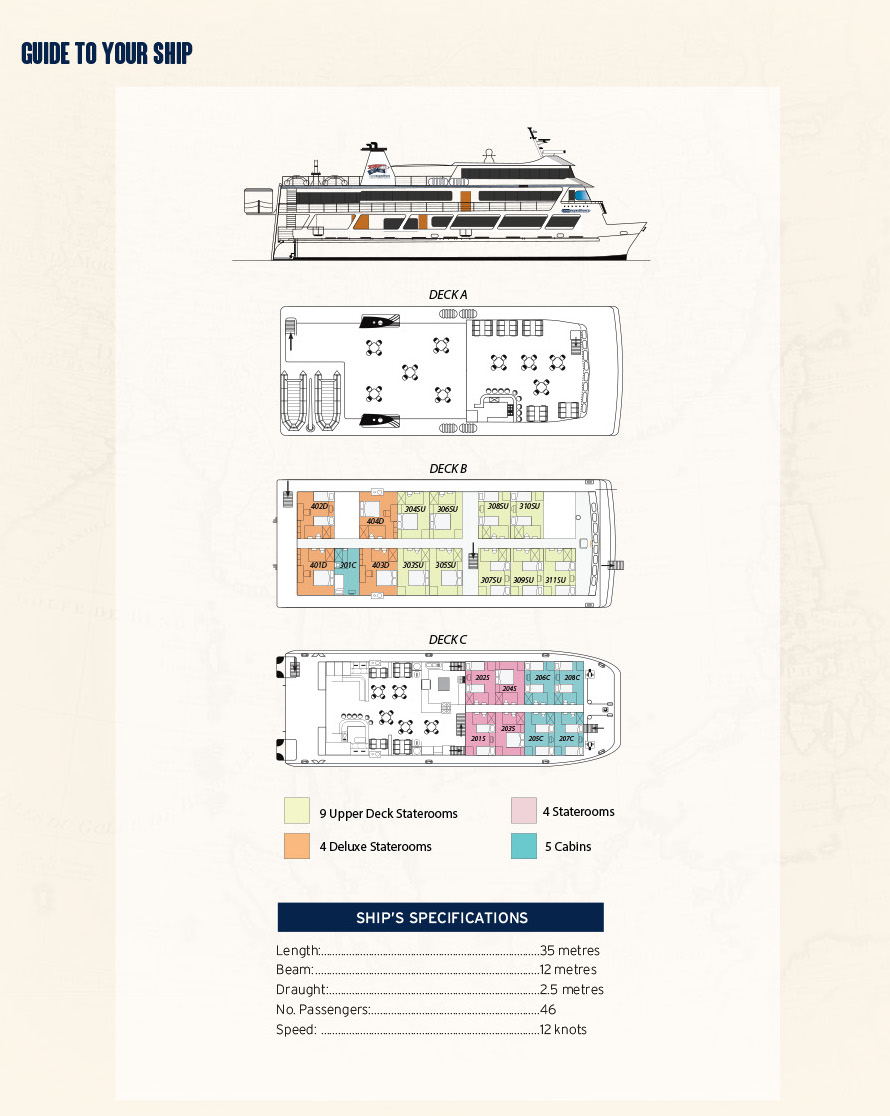Coral Expeditions II Deck Plan plan