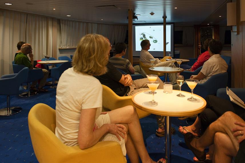 Informative talks on board - La Pinta, Galapagos