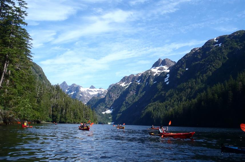 Kayaking through the Alaskan channels