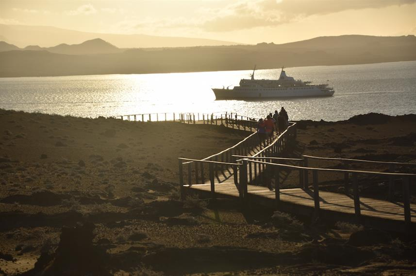 Bartolome Island at Sunset with M/V Galapagos Legend