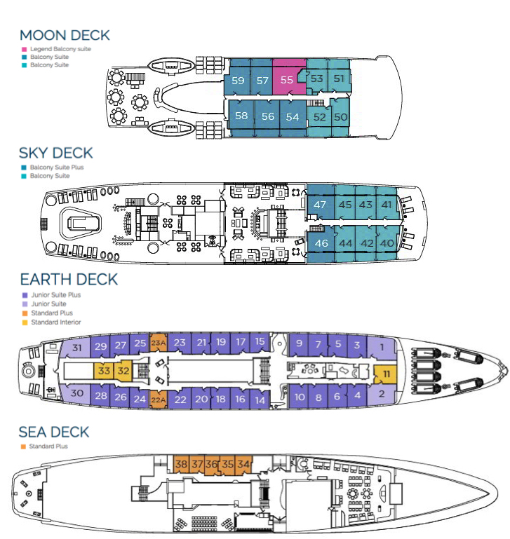 M/V Galapagos Legend Deck Plan floorplan