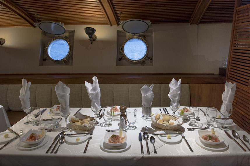 Indoor Dining Area - M/V Galapagos Legend