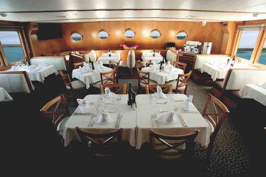 Indoor Dining Room - M/Y Coral I and II Galapagos
