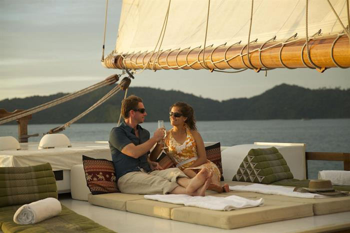 Relaxing aboard the Emperor Raja Laut