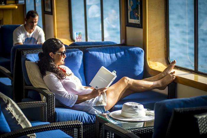 Relaxing in the lounge - Reef Endeavour Fiji