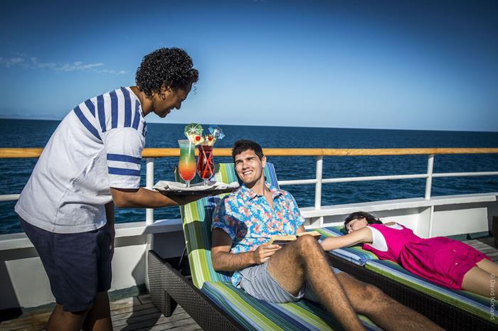 Enjoying Deck Service aboard Reef Endeavour Fiji