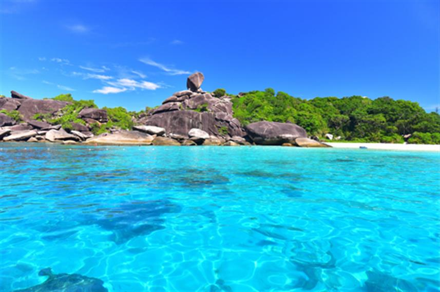 Crystal clear water at the Similan Islands