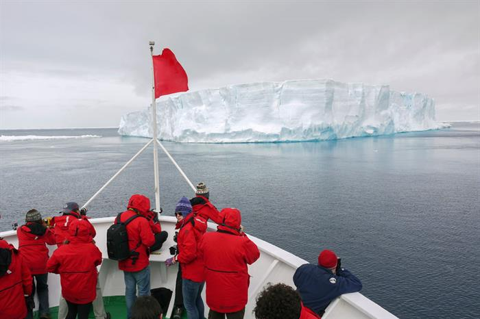 Antarctica Antarctic Sound MS Expedition Ship Bow Travellers Iceberg