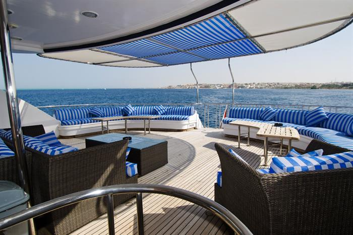 Shaded Sun Deck - Golden Dolphin III Egypt Liveaboard